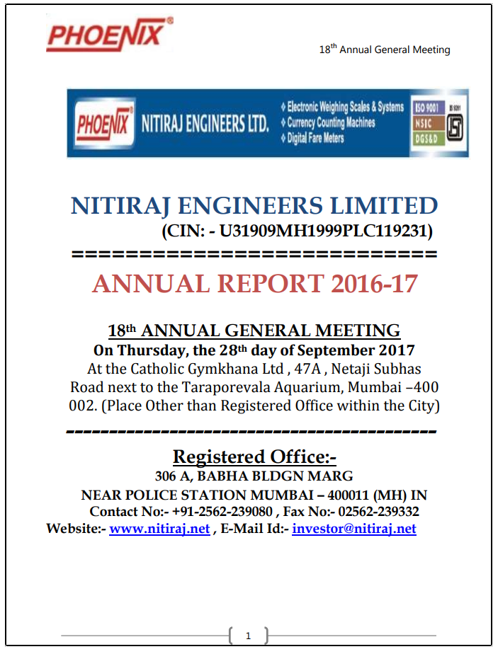 ANNUAL REPORT_NITIRAJ ENGINEERS LIMITED